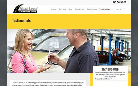 Screenshot of Testimonials Page nextlevelautomotivegroup.com - Testimonials about our Sales and Service Training Automotive Experts - captured Oct. 20, 2018