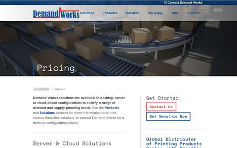 Screenshot of Pricing Page demandworks.com - Pricing - Demand Works Company - captured Aug. 18, 2019
