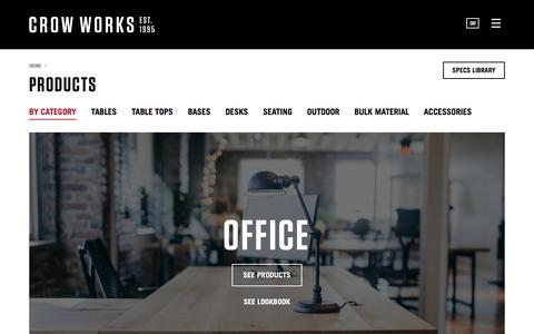 Screenshot of Products Page crowworks.com - Products Archive - Crow Works - captured Nov. 14, 2016