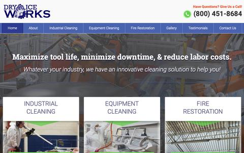 Screenshot of Home Page dryiceworks.com - Industrial Cleaning Southfield MI - Dry Ice, CO2 Blasting Contractors Michigan | Dry Ice Works - captured Nov. 14, 2018