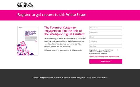 Screenshot of Landing Page artificial-solutions.com - The Future of Customer Engagement and the Role of the Intelligent Virtual Agent - captured March 4, 2018