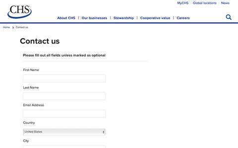 Screenshot of Contact Page chsinc.com - Contact us - captured Aug. 7, 2019