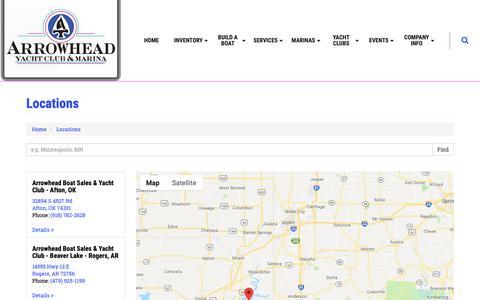 Screenshot of Contact Page Locations Page arrowheadok.com - Arrowhead Boat Sales & Yacht Club Locations Arrowhead Boat Sales & Yacht Club - captured Oct. 4, 2018