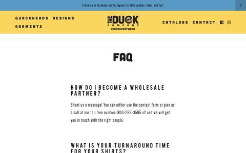 Screenshot of FAQ Page duckco.com - The Duck Company — FAQ - captured Nov. 15, 2018