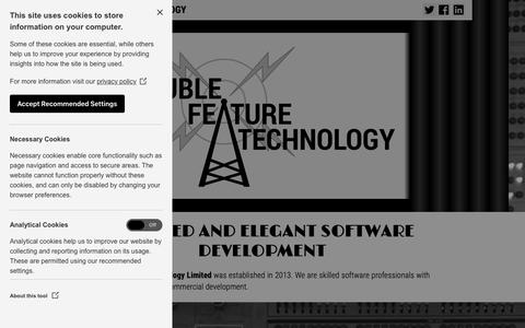 Screenshot of Home Page dblfeaturetech.com - Double Feature Technology: Software Consultancy and Development - captured Oct. 9, 2018