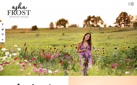 Screenshot of Home Page ashafrost.com - Asha Frost | Medicine Woman and Spiritual Mentor - captured July 7, 2019