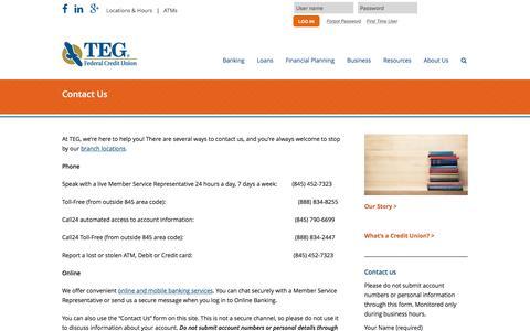Screenshot of Contact Page tegfcu.com - Contact Us – TEG Federal Credit Union - captured Feb. 16, 2016