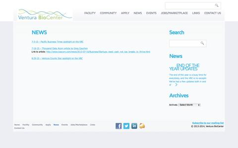 Screenshot of Press Page venturabiocenter.com - News  |  Ventura BioCenter - captured Dec. 19, 2016
