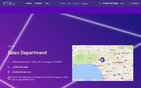 Screenshot of Locations Page centerlight.com - Location | Custom LED linear lighting - captured May 11, 2017