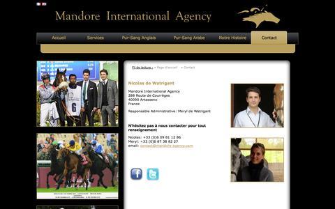 Screenshot of Contact Page mandore-agency.com - Contact - Mandore Agency - Nicolas DE WATRIGANT - captured Oct. 1, 2014