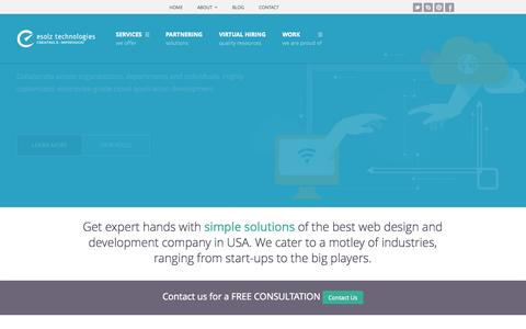 Screenshot of Home Page esolz.net - Best Professional Website Design, Development and SEO Company in USA - captured Sept. 19, 2014