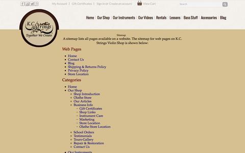 Screenshot of Site Map Page kcstrings.com - K.C. Strings Violin Shop Sitemap - captured Feb. 12, 2016