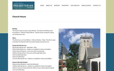 Screenshot of Hours Page scpresby.org - Hours - State College Presbyterian Church - State Collete, PA - captured Oct. 31, 2018