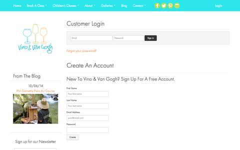 Screenshot of Login Page vinoandvangogh.net - Account | Adult Art Classes | Kids Art Classes in Greenville, SC - captured Oct. 9, 2014