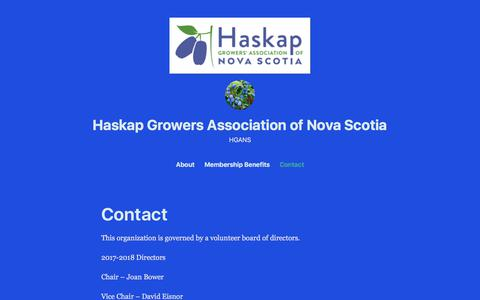 Screenshot of Contact Page wordpress.com - Contact – Haskap Growers Association of Nova Scotia - captured Feb. 18, 2018