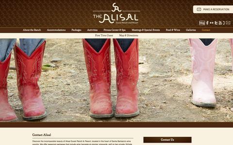 Screenshot of Contact Page alisal.com captured Oct. 30, 2014
