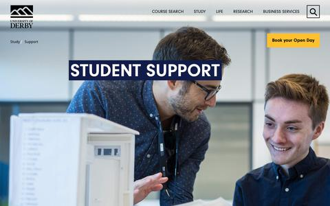 Screenshot of Support Page derby.ac.uk - Support - Study - University of Derby - captured Sept. 22, 2018