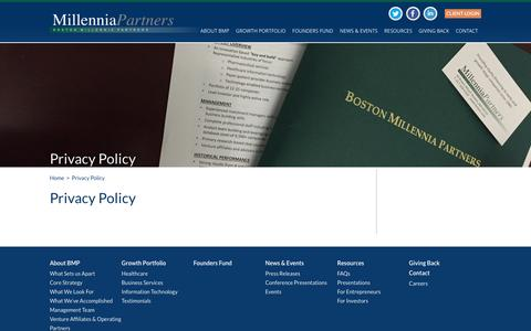 Screenshot of Privacy Page bostonmillenniapartners.com - Privacy Policy | Boston Millennia Partners - captured July 29, 2016