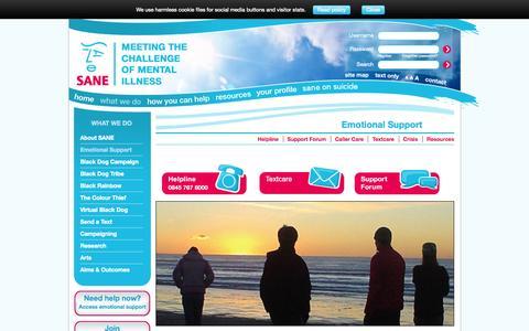Screenshot of Support Page sane.org.uk - Mental Health Emotional Support | Mental health charity | SANE - captured Sept. 23, 2014
