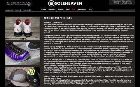 Screenshot of Terms Page soleheaven.com - Soleheaven and Your Privacy - captured Nov. 1, 2014