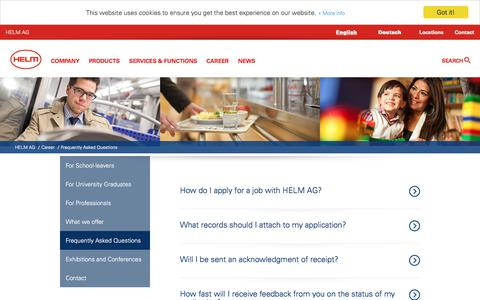 Screenshot of FAQ Page helmag.com - HELM AG: Frequently Asked Questions - captured Nov. 15, 2019