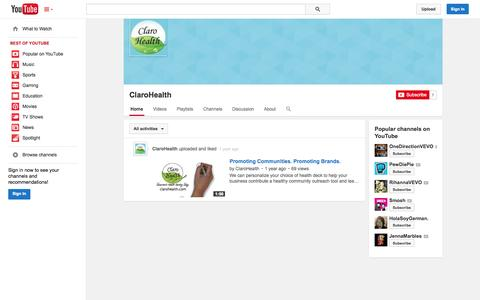 Screenshot of YouTube Page youtube.com - ClaroHealth  - YouTube - captured Oct. 22, 2014