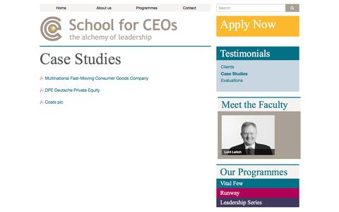 Screenshot of Case Studies Page schoolforceos.com - Case Studies - School for CEOs - captured July 13, 2016