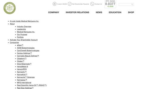 Screenshot of Site Map Page medicalmarijuanainc.com - Sitemap - Medical Marijuana Inc. (OTC: MJNA) - captured Jan. 9, 2016