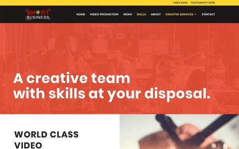 Screenshot of Services Page shootbusiness.com - Services - Shoot Business - captured Sept. 21, 2018