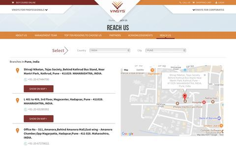 Screenshot of Contact Page vinsys.com - Reach Us @ Vinsys IT Services - captured July 1, 2017
