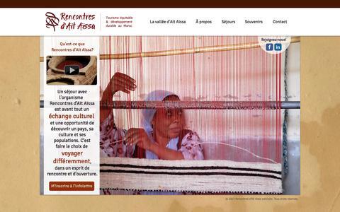 Screenshot of Home Page aitaissa.com - Tourisme durable au Maroc - Rencontres d'Aït Aïssa - captured Oct. 7, 2014