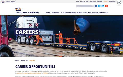 Screenshot of Jobs Page williams-shipping.co.uk - Careers - Marine, Transport & Lubricants | Williams Shipping - captured Dec. 12, 2016