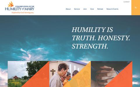 Screenshot of Home Page chmiowa.org - Congregation of the Humility of Mary     ›     The Congregation of the Humility of Mary - captured Sept. 29, 2018
