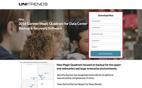 Screenshot of Landing Page unitrends.com - 2016 Magic Quadrant for Data Center Backup and Recovery Software - captured July 15, 2016