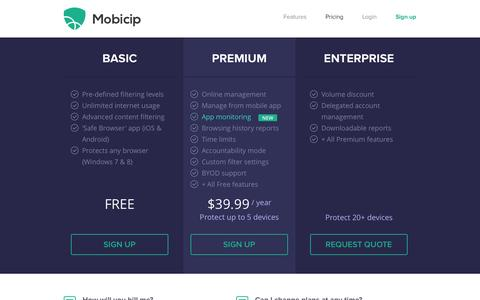 Screenshot of Pricing Page mobicip.com - Mobicip - Pricing - captured Sept. 24, 2014