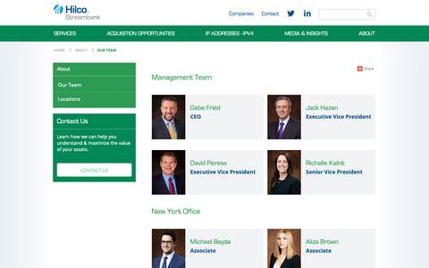 Screenshot of Team Page hilcostreambank.com - Hilco Streambank Management Team - captured March 19, 2019