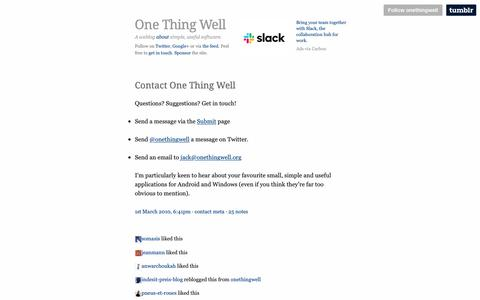 Screenshot of Contact Page onethingwell.org - One Thing Well | Contact One Thing Well - captured April 24, 2019