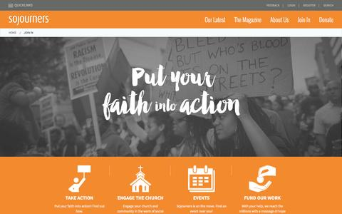 Screenshot of Signup Page sojo.net - Join In | Sojourners - captured Jan. 30, 2016