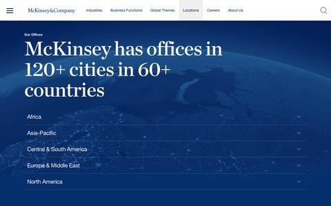 Screenshot of Locations Page mckinsey.com - Locations | McKinsey & Company - captured Dec. 22, 2016