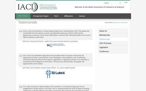 Screenshot of Testimonials Page iaci.org - Testimonials - captured Oct. 6, 2014