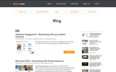 Screenshot of Blog shareroot.co - Visual UGC Marketing Platform - captured Oct. 19, 2018