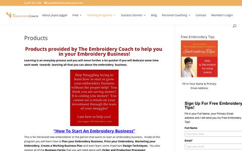 Screenshot of Products Page theembroiderycoach.com - Products - The Embroidery Coach - captured June 14, 2017