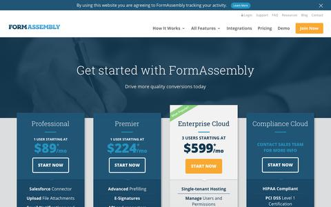 Screenshot of Signup Page formassembly.com - Join Now - FormAssembly - captured Oct. 10, 2018