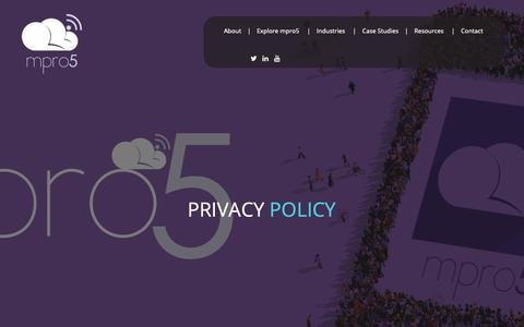 Screenshot of Privacy Page mpro5.com - Privacy Policy - mpro5 - captured Sept. 30, 2018