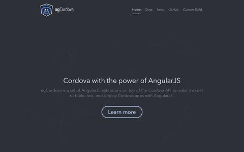 Screenshot of Home Page ngcordova.com - ngCordova - Simple extensions for common Cordova Plugins - by the Ionic Framework Team - by the Ionic Framework Team - captured Sept. 22, 2014