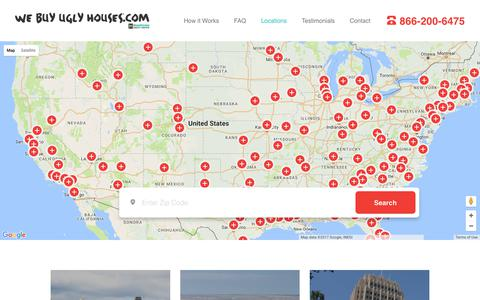 Screenshot of Locations Page webuyuglyhouses.com - Where are we located | Locations | We Buy Ugly Houses - captured Aug. 13, 2017