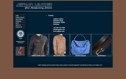 Screenshot of Contact Page asphan.com - Asphan Leather | Leather Handbags, Jackets and belts - captured Oct. 4, 2014