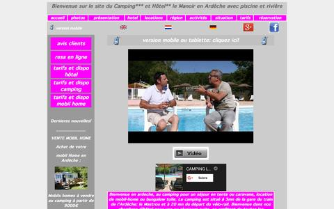 Screenshot of Home Page lemanoir-ardeche.com - Camping et Hotel Le Manoir en Ardeche avec piscine,rivière, achat vente mobil home occasion - captured Oct. 16, 2015