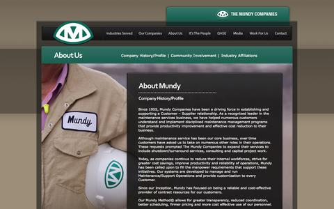 Screenshot of About Page mundycos.com - The Mundy Companies - About Us - captured Oct. 6, 2014