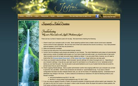 Screenshot of FAQ Page joyfulmeditations.org - Frequently Asked Questions for Joyful Meditations Ministries - captured Feb. 11, 2016